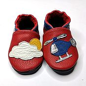 Одежда детская handmade. Livemaster - original item Helicopter Baby Shoes, Red Baby Shoes, Transport Baby Slippers. Handmade.