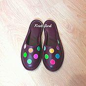 Обувь ручной работы. Ярмарка Мастеров - ручная работа Домашние тапочки Конфетти вишнёвые. Handmade.