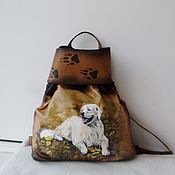 Сумки и аксессуары handmade. Livemaster - original item Backpack leather with painting and engraving to order for Anna.. Handmade.