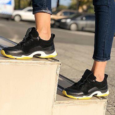 Обувь ручной работы. Ярмарка Мастеров - ручная работа Кожаные кроссовки с замшей Galaxy K102Z (черные). Handmade.