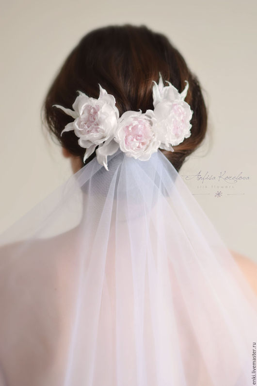 Свадебные украшения ручной работы. Ярмарка Мастеров - ручная работа. Купить Свадебный гребень - шелковые розы. Handmade. Бледно-розовый