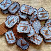 Руны ручной работы. Ярмарка Мастеров - ручная работа Руны Футарк из ясеня серебряные. Handmade.