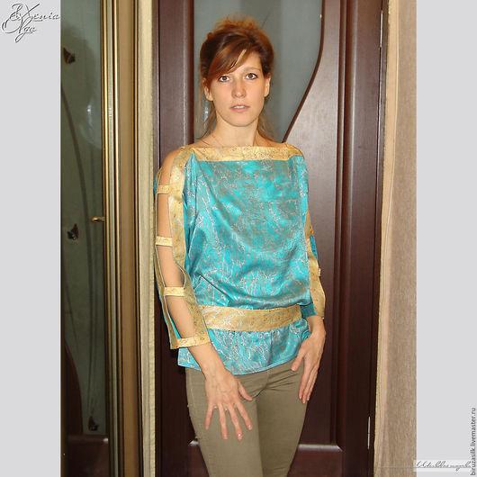 """Блузки ручной работы. Ярмарка Мастеров - ручная работа. Купить """"Бирюза""""туника праздничная женская шелковая с ручной росписью на заказ. Handmade."""