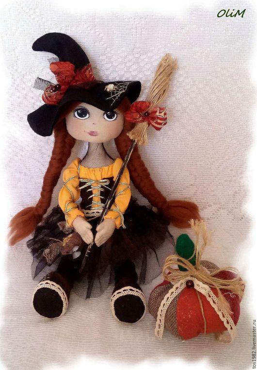 Куклы тыквоголовки ручной работы. Ярмарка Мастеров - ручная работа. Купить Ведьма Марго. Handmade. Оранжевый, ведьма, тыква