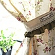 Linen curtains in the kitchen flower in beige and olive tones of Provence. Curtains Provence. Curtains for the kitchen. Textile set for kitchen.