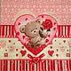 Мишка в сердце и фон с сердечками Салфетка для декупажа Декупажная радость