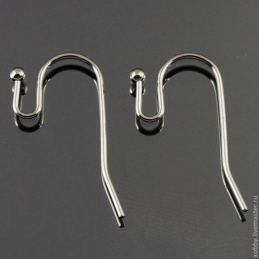 Латунные швензы Hooks в виде изящного крючка с шариком и петелькой для подвески для сборки сережек Покрытие серебристого цвета имитация платины