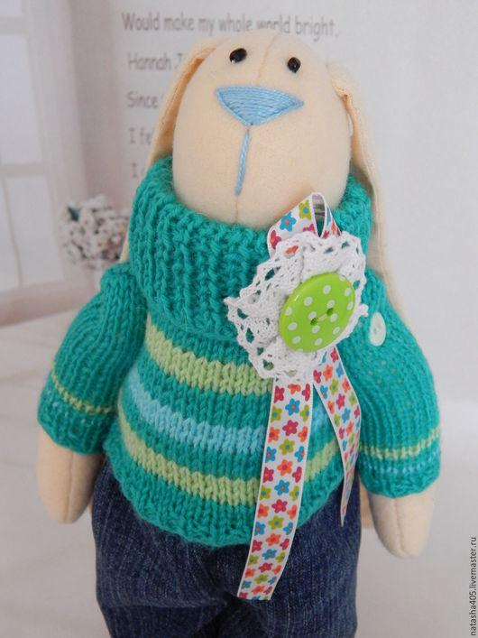 Куклы Тильды ручной работы. Ярмарка Мастеров - ручная работа. Купить Тильда Заяц. Заяц из флиса в вязаном свитере. Handmade.