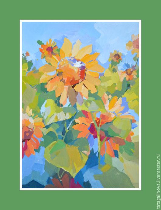 """Картины цветов ручной работы. Ярмарка Мастеров - ручная работа. Купить """"Подсолнухи"""" картина темперой. Handmade. Желтый, подсолнухи, картина"""