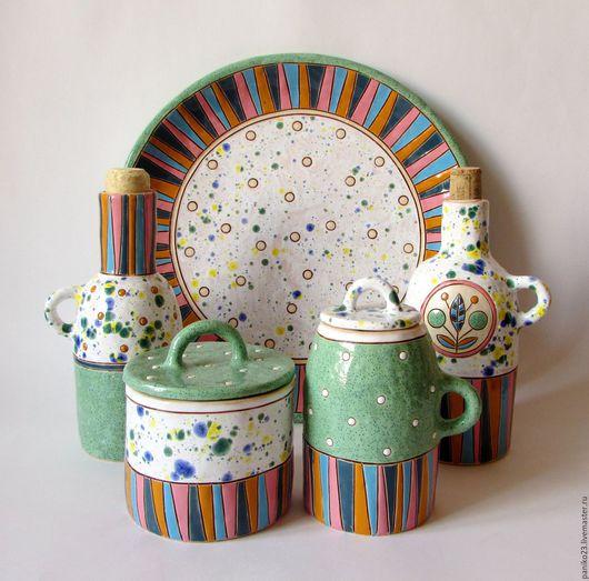 """Сервизы, чайные пары ручной работы. Ярмарка Мастеров - ручная работа. Купить Набор для кухни """"Позитив"""". Handmade. Комбинированный"""