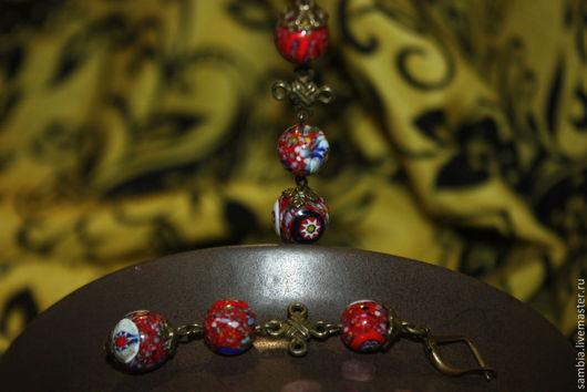 """Серьги ручной работы. Ярмарка Мастеров - ручная работа. Купить Серьги длинные """" Джайпур"""" красные. Handmade. Серьги"""