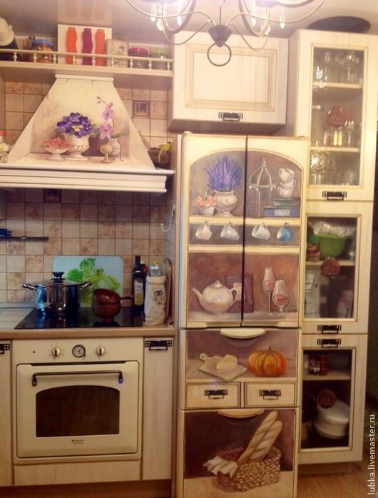 Декор поверхностей ручной работы. Ярмарка Мастеров - ручная работа. Купить Роспись холодильника и вытяжки. Handmade. Роспись холодильника