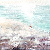 Картины и панно ручной работы. Ярмарка Мастеров - ручная работа Бескрайнее море. Печать на акварельной бумаге. Handmade.