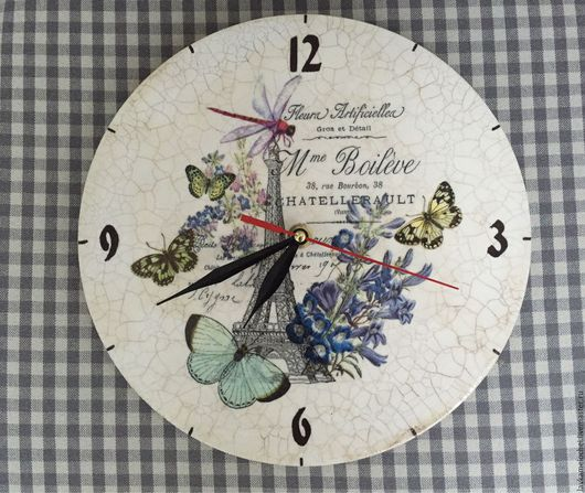 """Часы для дома ручной работы. Ярмарка Мастеров - ручная работа. Купить Часы """"Парижские мотивы"""". Handmade. Комбинированный, часы настенные"""