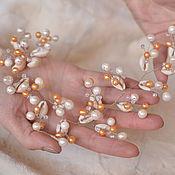 Свадебный салон handmade. Livemaster - original item Wedding headband, sprig of pearls and shells -