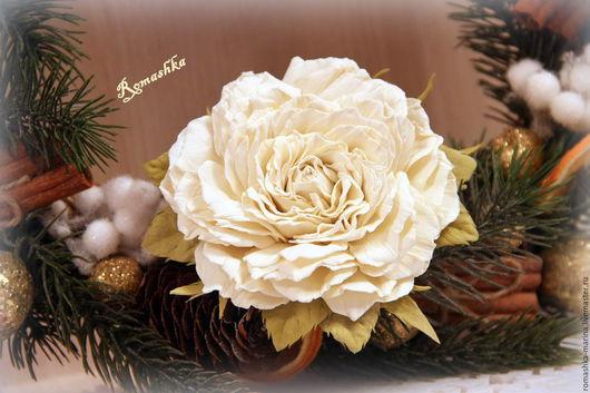 Роза `Брызги шампанского` - этот нежный и воздушный цветок. В прическе или на одежде будем смотреться прекрасно. Дополнит образ и подарит хорошее настроение!Работа Покусаевой Марины (Romashka)