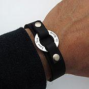 Украшения ручной работы. Ярмарка Мастеров - ручная работа Стильный мужской браслет из натуральной кожи и серебра.Подарок мужчине. Handmade.