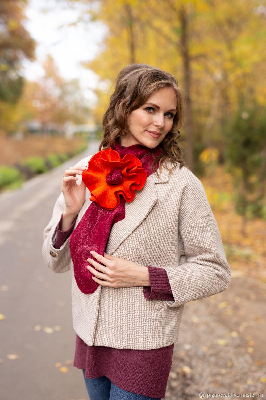 галстук-шарф с объемным цветком из шерсти, Галстуки, Ташкент,  Фото №1