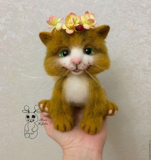 Игрушки животные, ручной работы. Ярмарка Мастеров - ручная работа. Купить Смешной котик Рыжик(весенний). Handmade. Золотой
