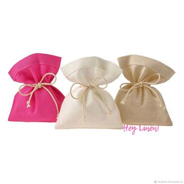 Souvenirs and gifts handmade. Livemaster - original item 10h12sm9sht. Linen bags, beige, white, pink. Handmade.