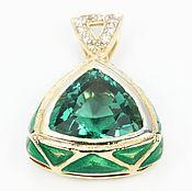 Украшения handmade. Livemaster - original item 30.40tcw Green Amethyst & Diamond, Gold Slide/Pendant 14k, Green Tourm. Handmade.