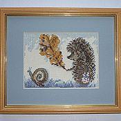 Для дома и интерьера handmade. Livemaster - original item Cross-stitch hedgehog in the fog. Handmade.
