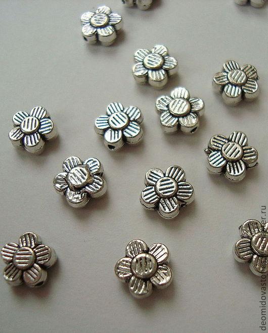 Для украшений ручной работы. Ярмарка Мастеров - ручная работа. Купить Бусина - цветочек, под серебро, 8 х 3 мм. Handmade.