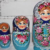 Русский стиль ручной работы. Ярмарка Мастеров - ручная работа матрешка 5 мест синяя. Handmade.