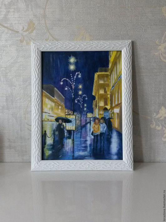 Город ручной работы. Ярмарка Мастеров - ручная работа. Купить Дождь в городе. Handmade. Тёмно-синий, дождь в городе