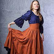 Одежда handmade. Livemaster - original item Linen skirt with belt-corset (brick color). Handmade.