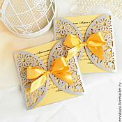 """Свадебный салон ручной работы. Ярмарка Мастеров - ручная работа Приглашение на свадьбу """"Серый+желтый"""". Handmade."""