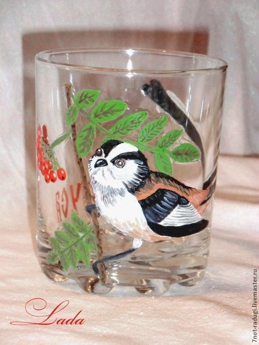 """Бокалы, стаканы ручной работы. Ярмарка Мастеров - ручная работа. Купить Стакан """"Синица"""". Handmade. Стакан с росписью, птица на ветке"""