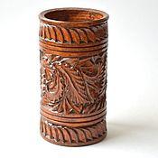 Канцелярские товары handmade. Livemaster - original item Wooden carved pencil holder. Handmade.
