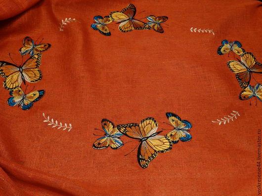 """Текстиль, ковры ручной работы. Ярмарка Мастеров - ручная работа. Купить Скатерть льняная с салфетками """"Бабочки"""". Handmade. Оранжевый"""