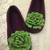 Обувь ручной работы. Ярмарка Мастеров - ручная работа Тапочки хризантемы. Handmade.
