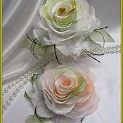 Украшения ручной работы. Ярмарка Мастеров - ручная работа брошь  Персиковая роза, роза из ткани. Handmade.