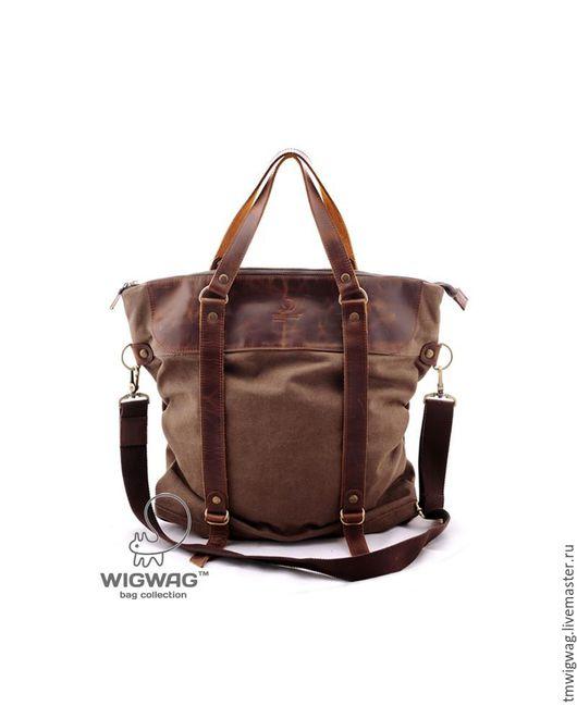 Женские сумки ручной работы. Ярмарка Мастеров - ручная работа. Купить Женская сумка-трансформер из коричневого канваса и натуральной кожи. Handmade.