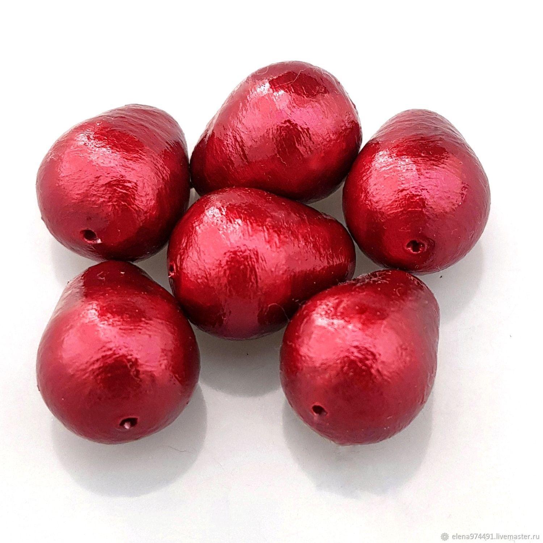 10х14мм. Хлопковый жемчуг. Красный, Бусины, Москва,  Фото №1