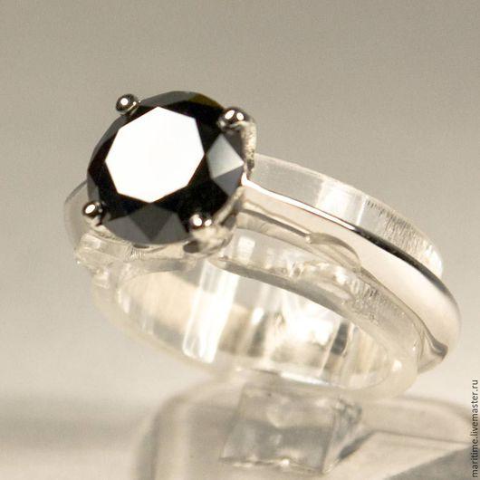 Кольца ручной работы. Ярмарка Мастеров - ручная работа. Купить Кольцо с черный бриллиантом Coco. Handmade. Чёрно-белый