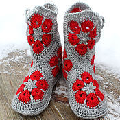 Обувь ручной работы. Ярмарка Мастеров - ручная работа Домашние сапожки серые с красным. Handmade.