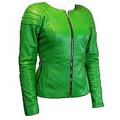 Одежда handmade. Livemaster - original item Women`s bright green leather jacket in Moto style. Handmade.