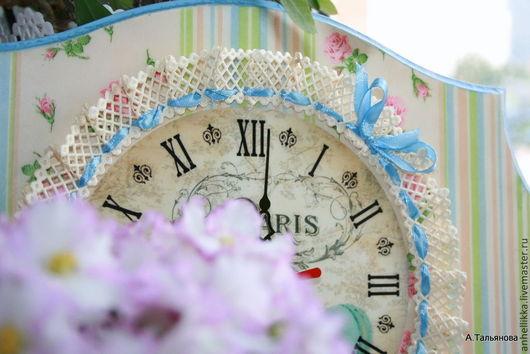 """Часы для дома ручной работы. Ярмарка Мастеров - ручная работа. Купить Часы """"Время макарони!"""". Handmade. Голубой, настенные часы"""