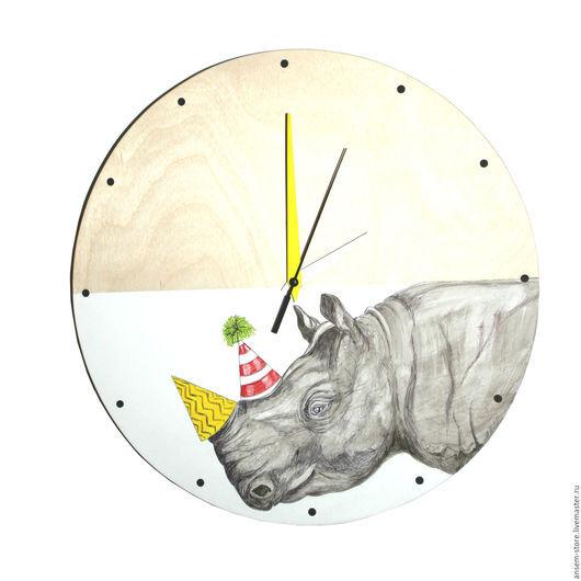 Часы для дома ручной работы. Ярмарка Мастеров - ручная работа. Купить Часы из дерева носорог Эрленд. Часы ручной работы.. Handmade.