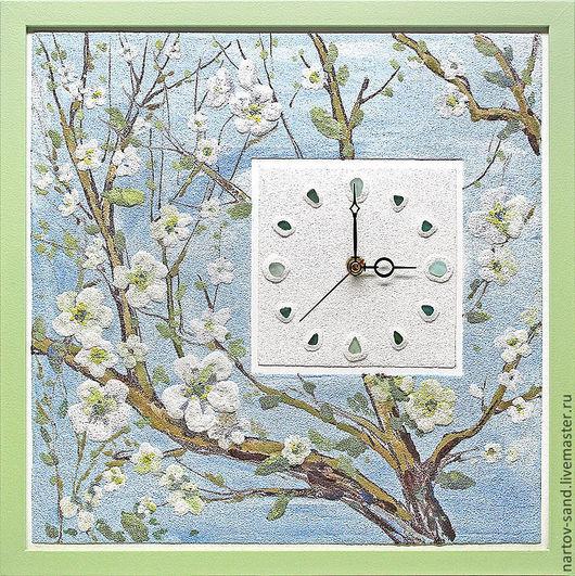"""Часы для дома ручной работы. Ярмарка Мастеров - ручная работа. Купить """"ВЕСЕННИЙ ЭТЮД"""" настенные часы с песочным декором. Handmade."""