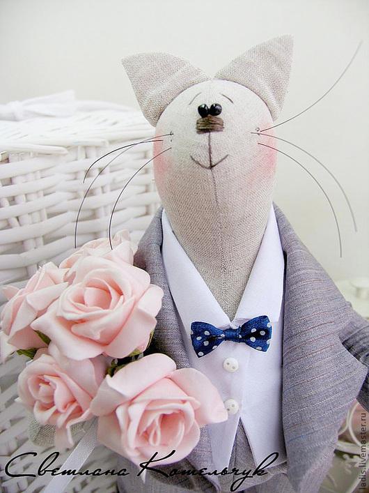 Игрушки животные, ручной работы. Ярмарка Мастеров - ручная работа. Купить Тильда Праздничный Кот. Handmade. Серый, кот в подарок
