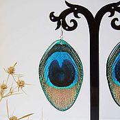 Украшения handmade. Livemaster - original item Transparent Earrings Bright Feather Earrings Peacock Feather Earrings Rainbow Boho. Handmade.