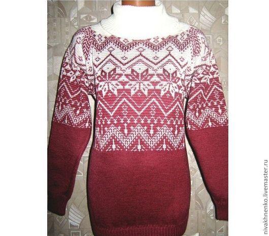 Кофты и свитера ручной работы. Ярмарка Мастеров - ручная работа. Купить Вязаный свитер  с норвежским орнаментом. Handmade. Коралловый