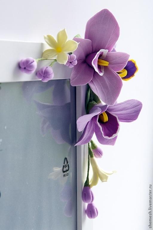 Фоторамки ручной работы. Ярмарка Мастеров - ручная работа. Купить Фоторамка с орхидеями и плюмериями. Handmade. Бледно-сиреневый, рамка