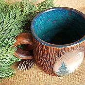 handmade. Livemaster - original item Mug ceramic with a wood texture Taiga motives. Handmade.
