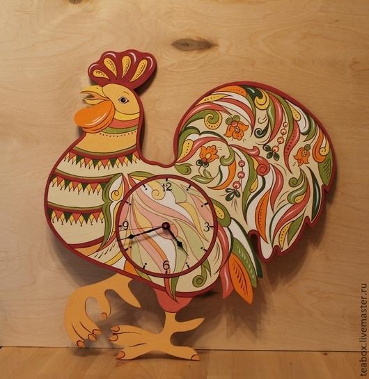 """Новый год 2017 ручной работы. Ярмарка Мастеров - ручная работа. Купить Часы настенные расписные """"Петушок"""". Handmade. Часы настенные"""